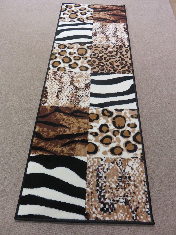 Zebra Leopard Tiger Animal Print Carpet Runner Rug Soft Short Pile Brand New