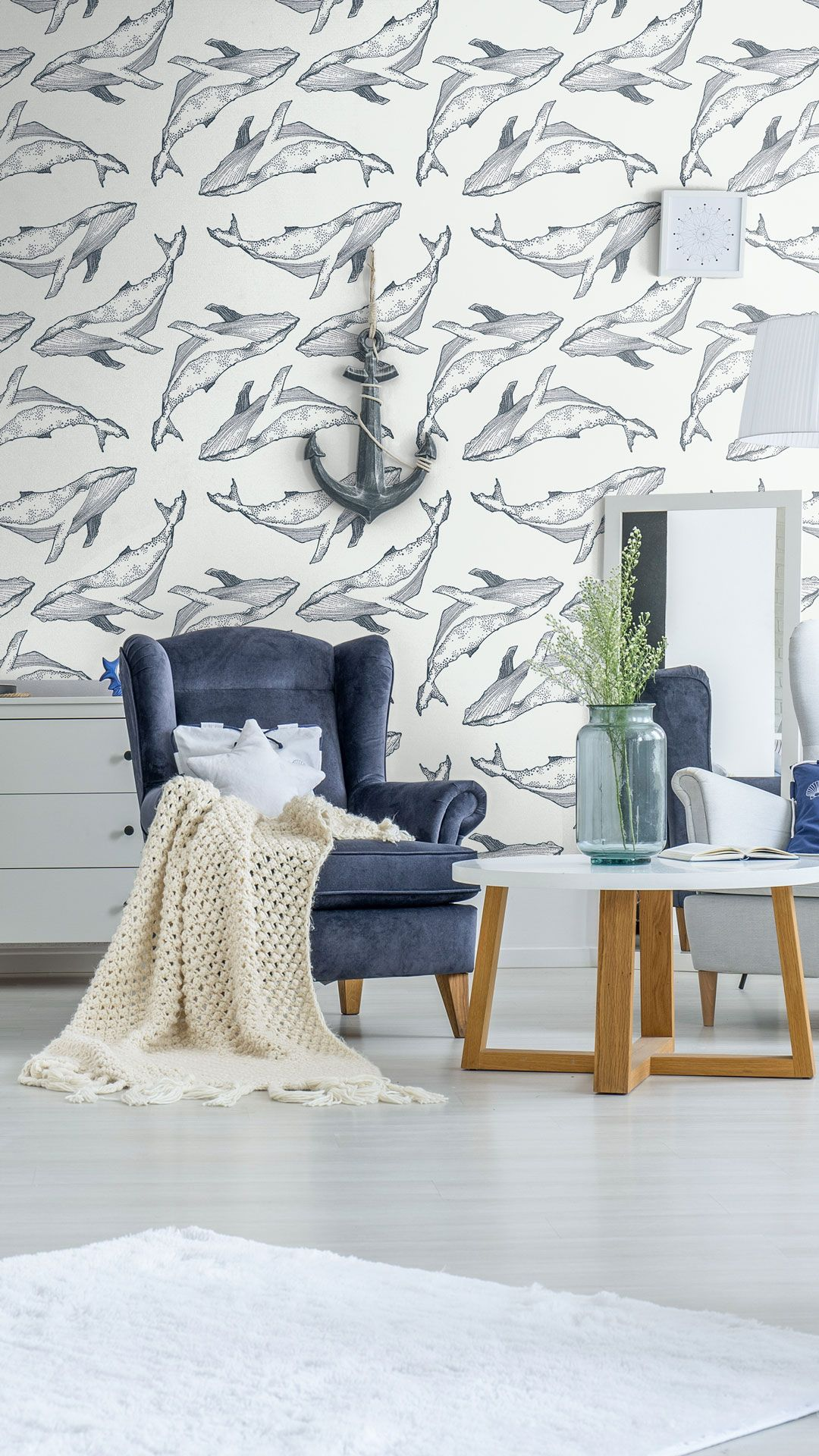 Navy Fish Nautical Peel And Stick Removable Wallpaper 8098 Removable Wallpaper Large Scale Wallpaper Traditional Wallpaper