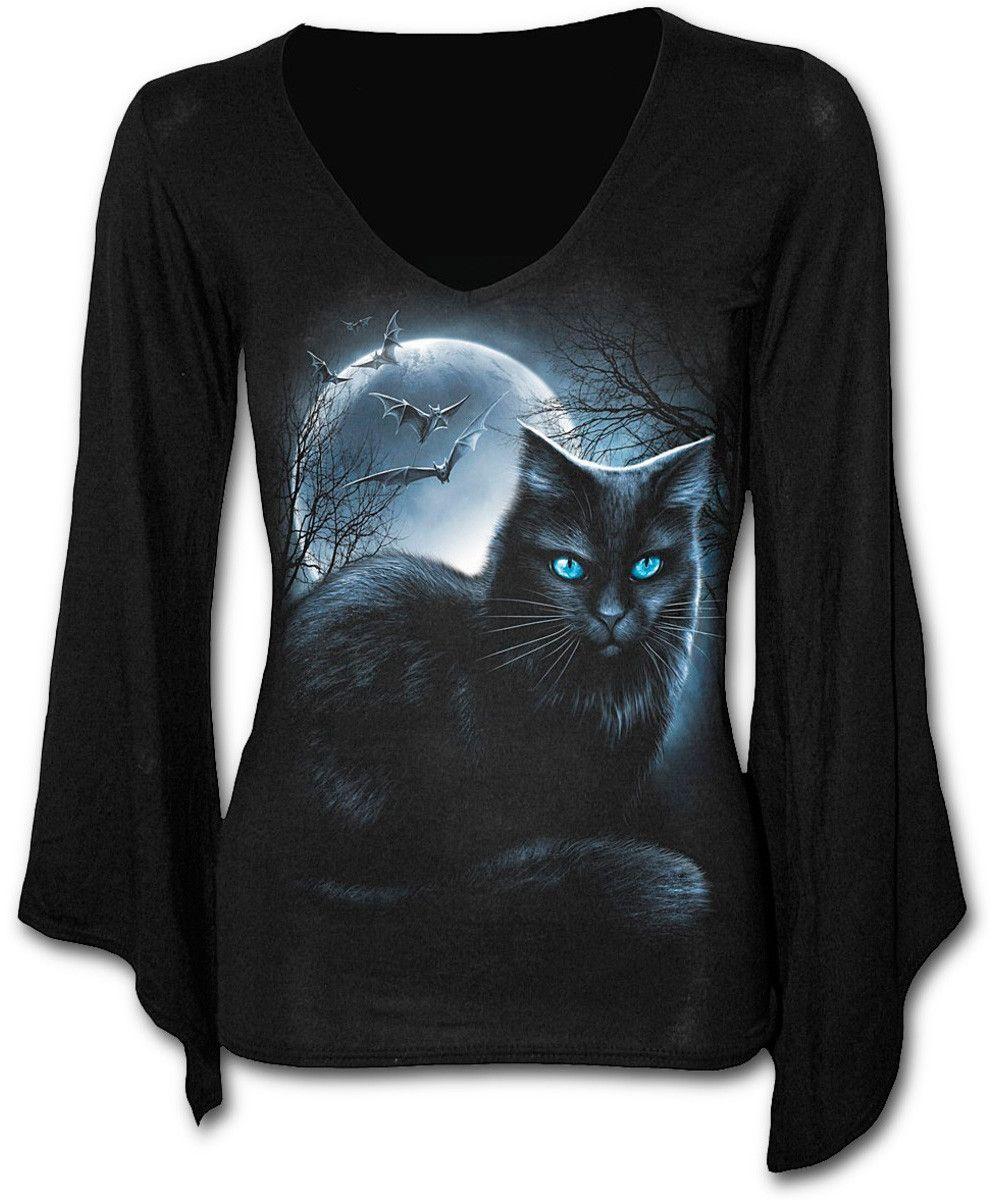 f214781f2b Camiseta Mystical Moonlight  spiral  gato  cat  moon  luna  ropa  gotica   gothic  clothing