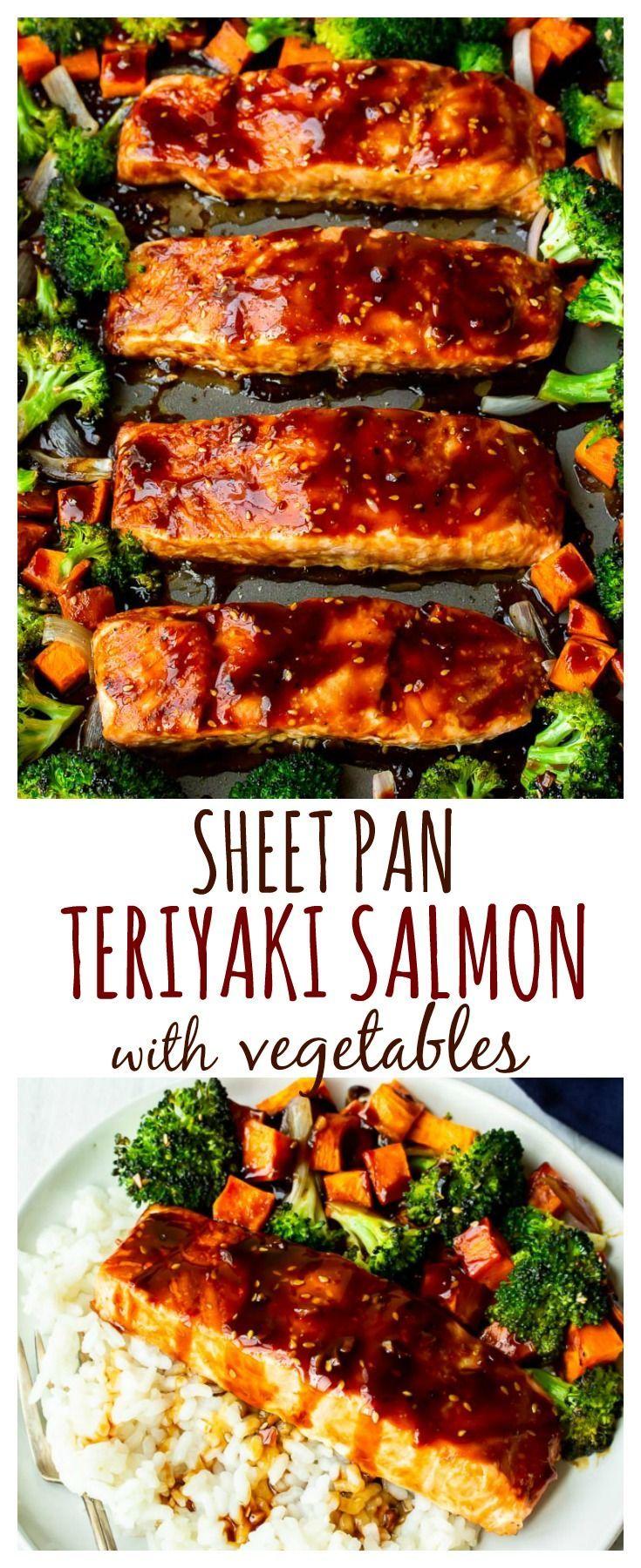 Leicht Blatt Pan Teriyaki Lachs und Gemüse - Leckere kleines Bites