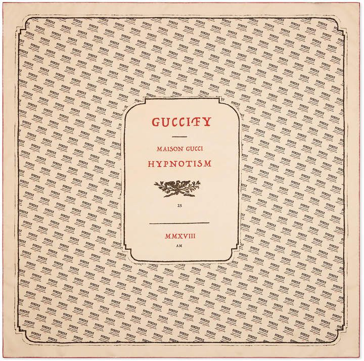 6374739fe70be Gucci invite print silk scarf The invitation for the Spring Summer 2018  fashion show was presented in printed paper wrapping
