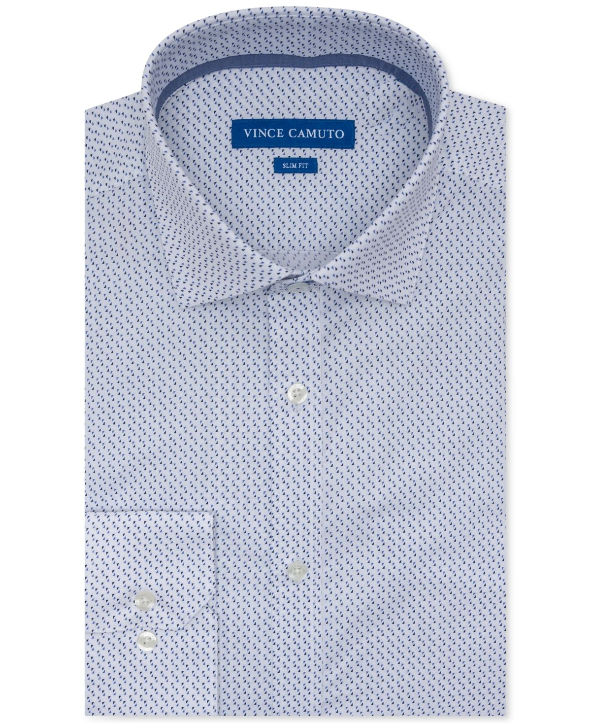 Vince Camuto Men's Slim-Fit Performance Stretch Geo-Print Dress Shirt – White W/ Blue Check