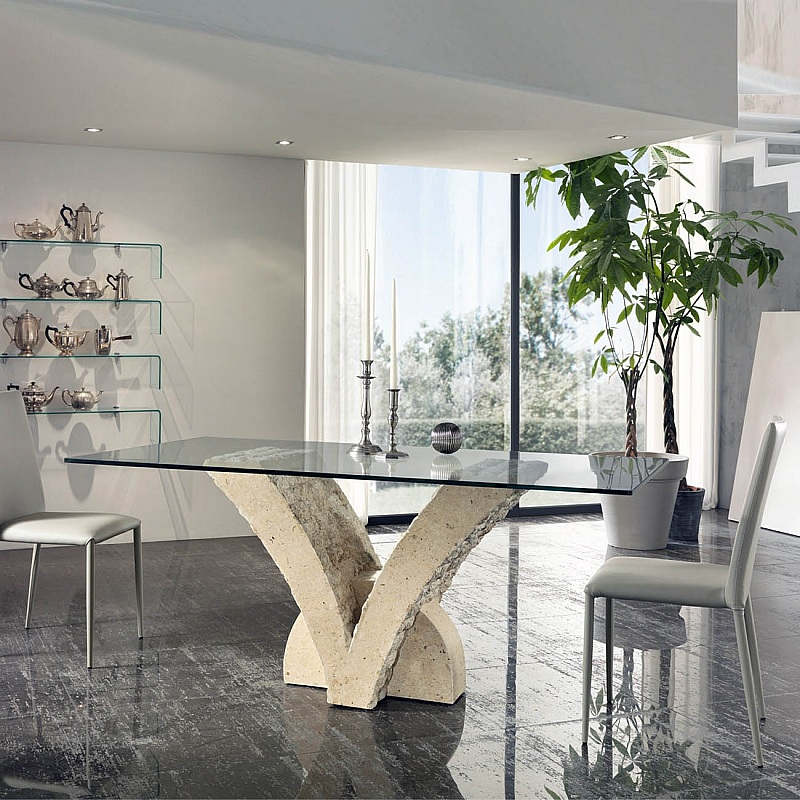 Pappillo Fossil Stone Dining Table By Stones Mesas De Comedor