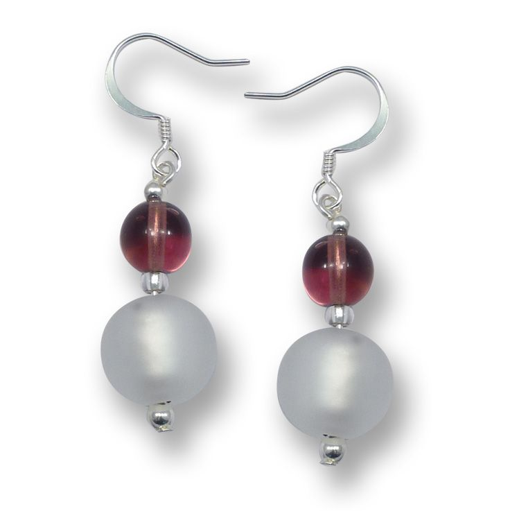 Murano Glass Earrings - Luna Silver Matt from Simply Murano
