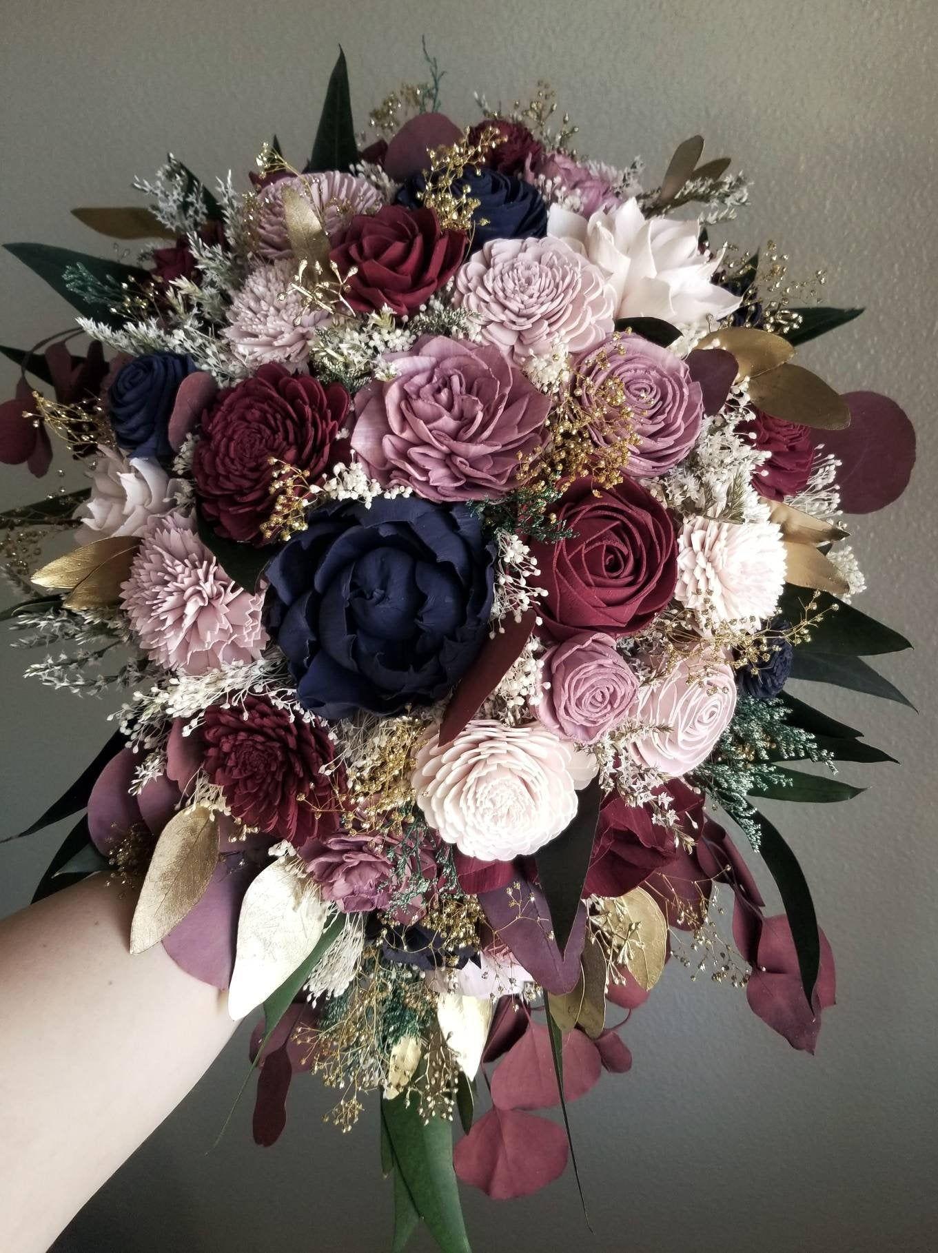 Blush made with sola flowers Burgundy bridesmaids bouquet choose your colors Custom Navy Cascading bouquet Alternative bouquet