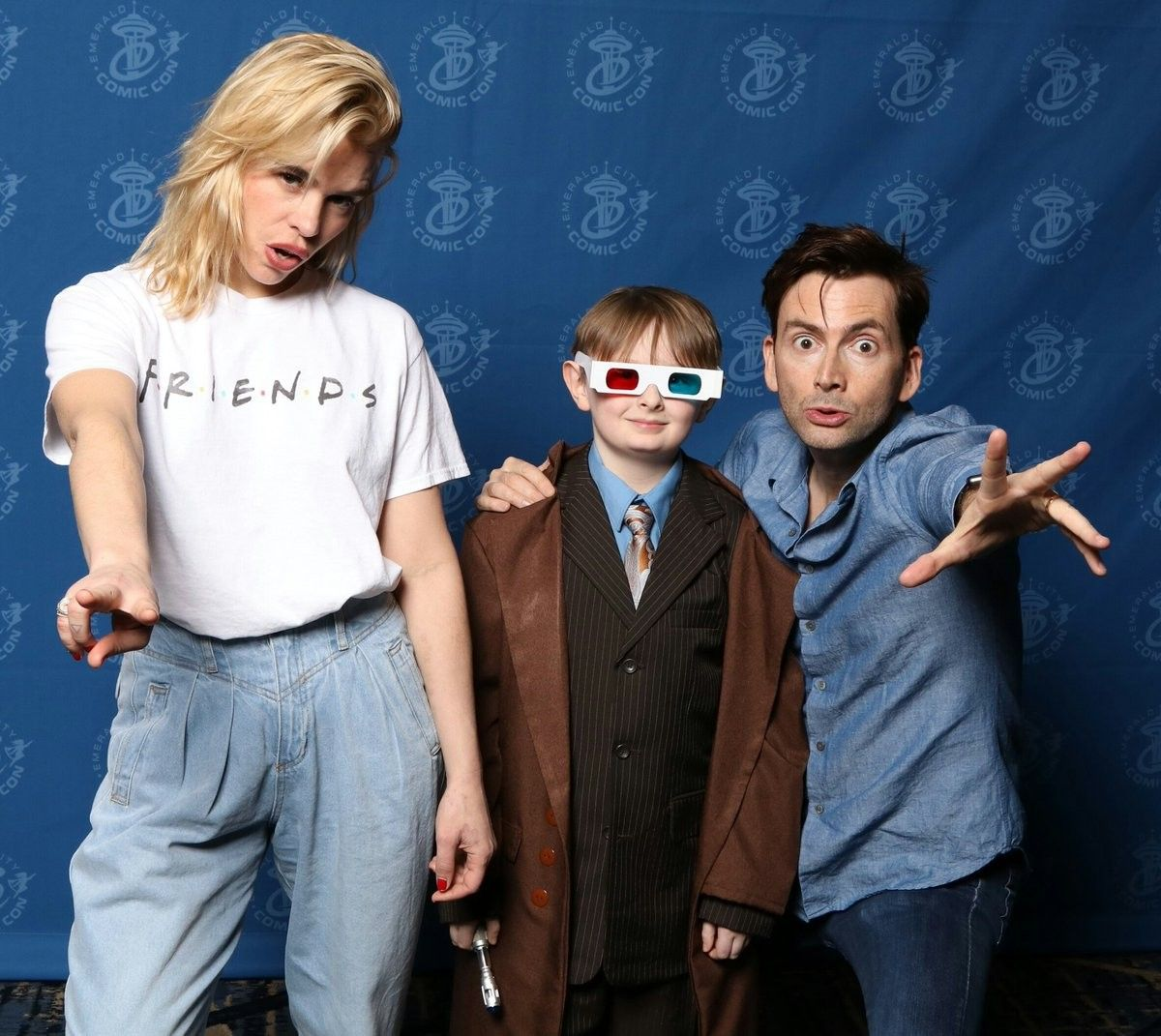 Billie Piper and David Tennant with a Mini Doctor Billie