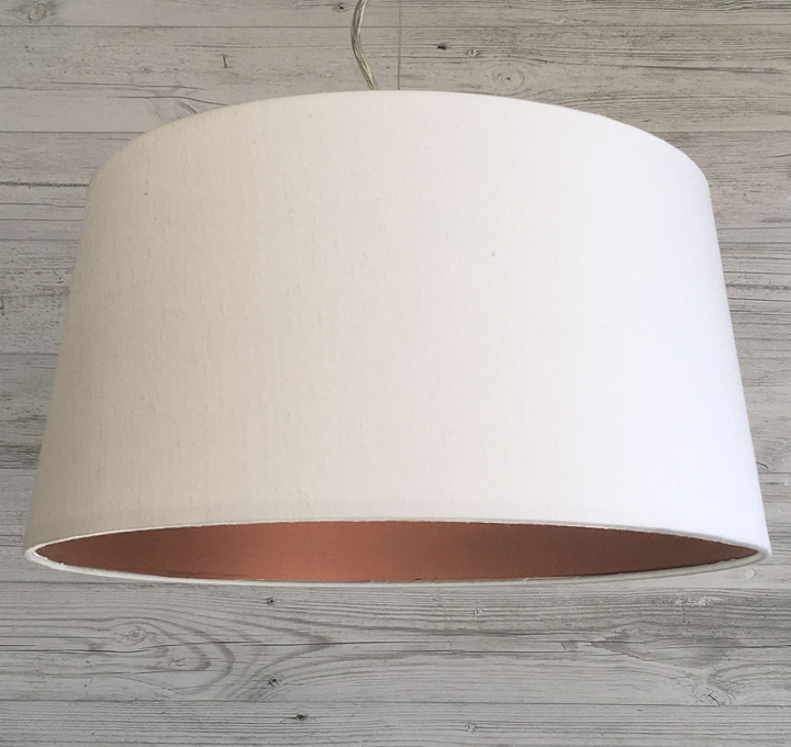 Effortlessly Stylish Our White French Drum With Copper Inner Lamp Shade Modern Lamp Shades Drum Lampshade