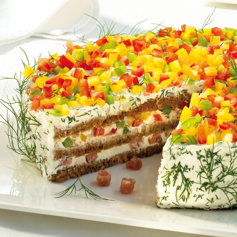 Herzhafte Schwarzbrot Frischkase Torte Rezept