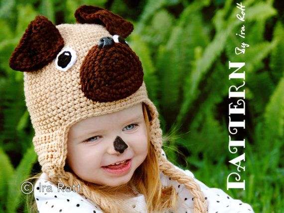 Pug Puppy Dog Hat Crochet Pattern Pdf Irarott For More