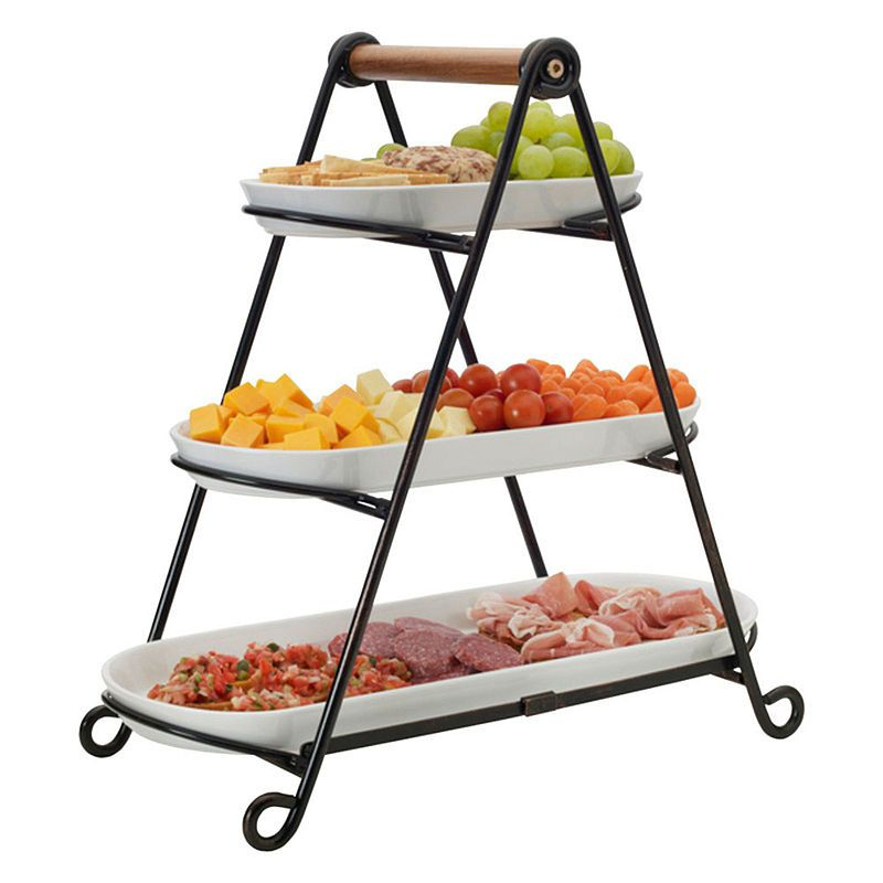 Gourmet Basics By Mikasa Mksa Gb 3 Tier Oval Server Gb Tiered Server Party Serving Trays Gourmet Basics By Mikasa Food Stands