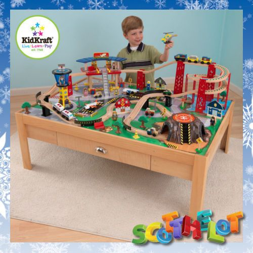 kids boys airport express reversible train set table winding track play mountain 8999