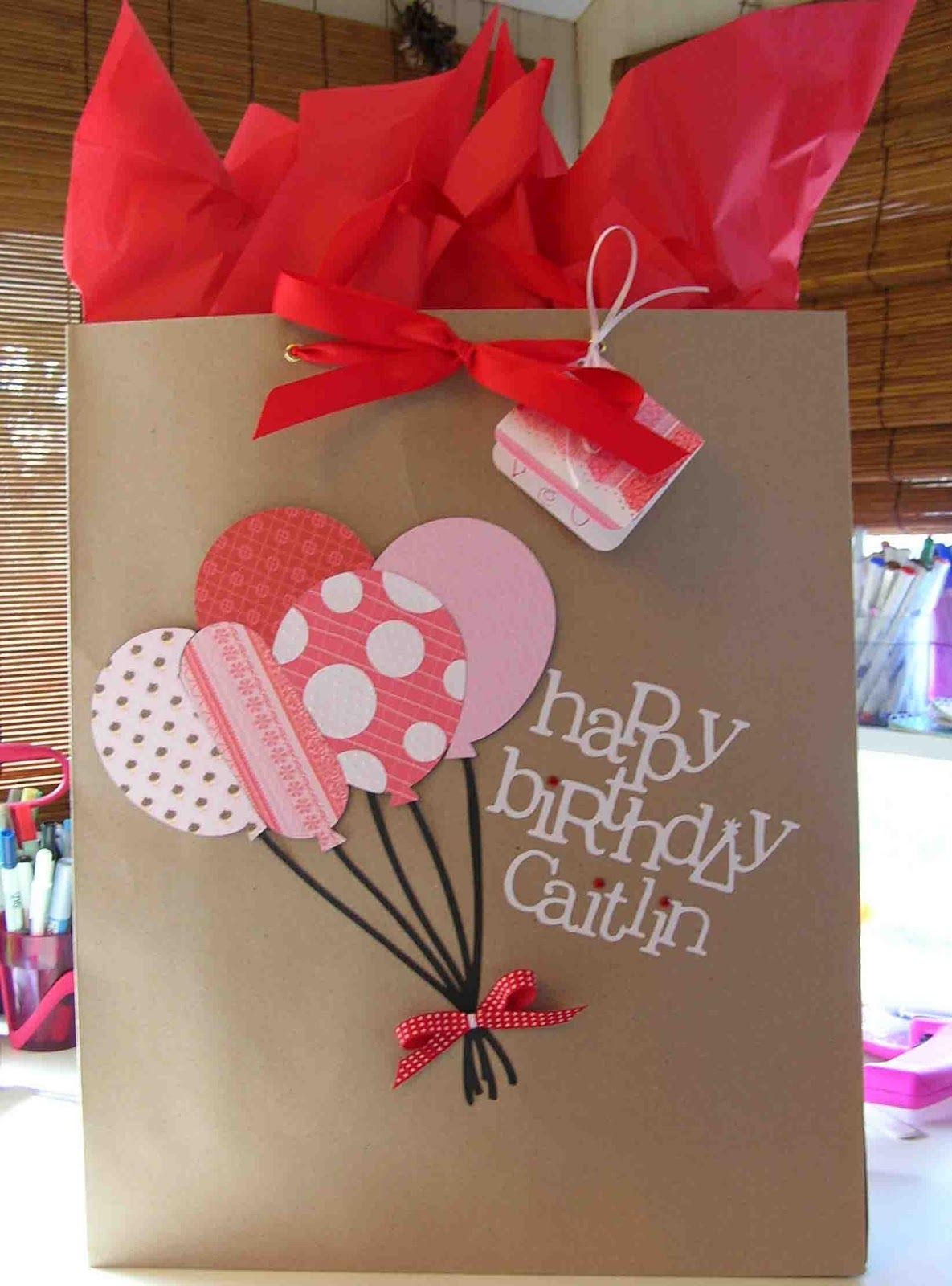 Pink Party Gift Bags Happy Birthday Present Small Gift Wrap Balloons Bag