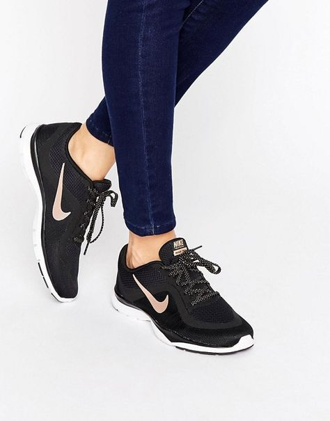 low priced 29eeb d1ec8 Nike  Nike Flex 6 Trainers In Black And Metallic Gold