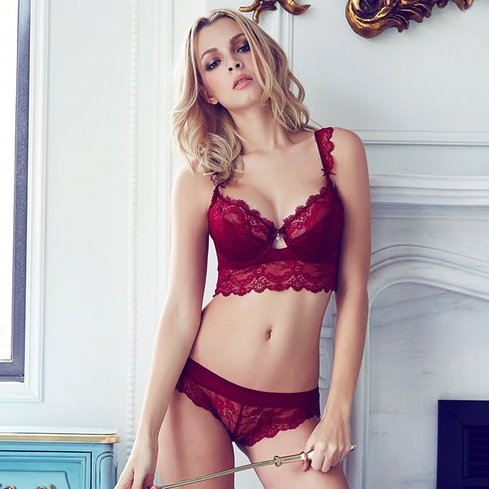 bb5de27fe6 Fashion transparent sexy bra set plus size Women gauze embroidery  ultra-thin underwear set lace brassiere and hollow out Panties   You can  find more details ...