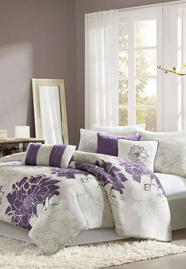 Madison Park Lola Comforter Set Queen Gray Purple 7198142 Grey