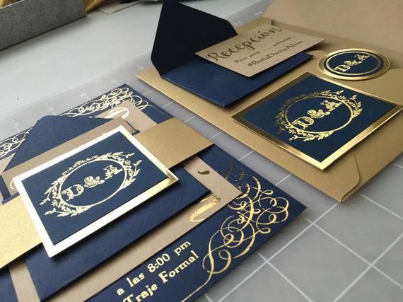 Invitaciones De Boda Azul Y Dorado