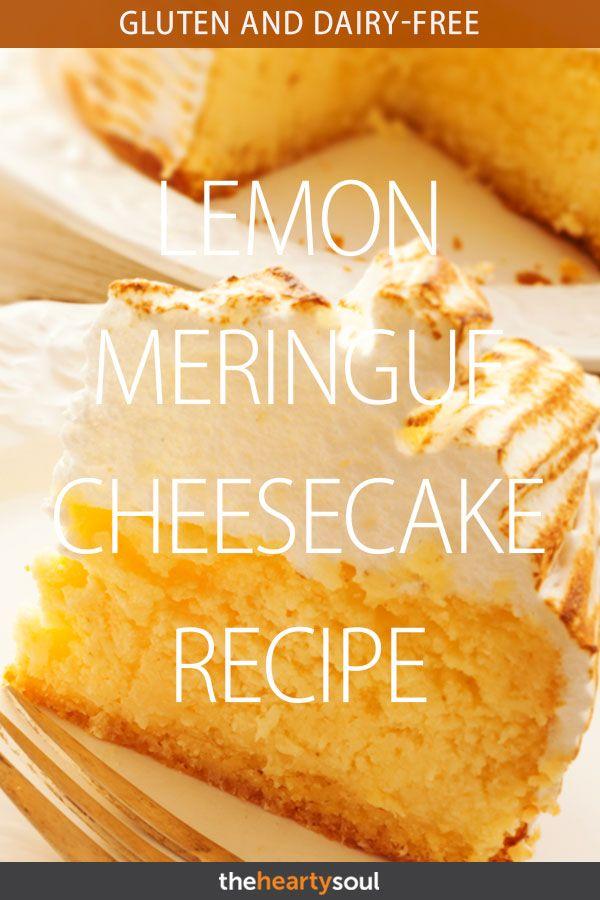 Gluten and Dairy-Free Lemon Meringue Cheesecake Recipe #lemonmeringuecheesecake