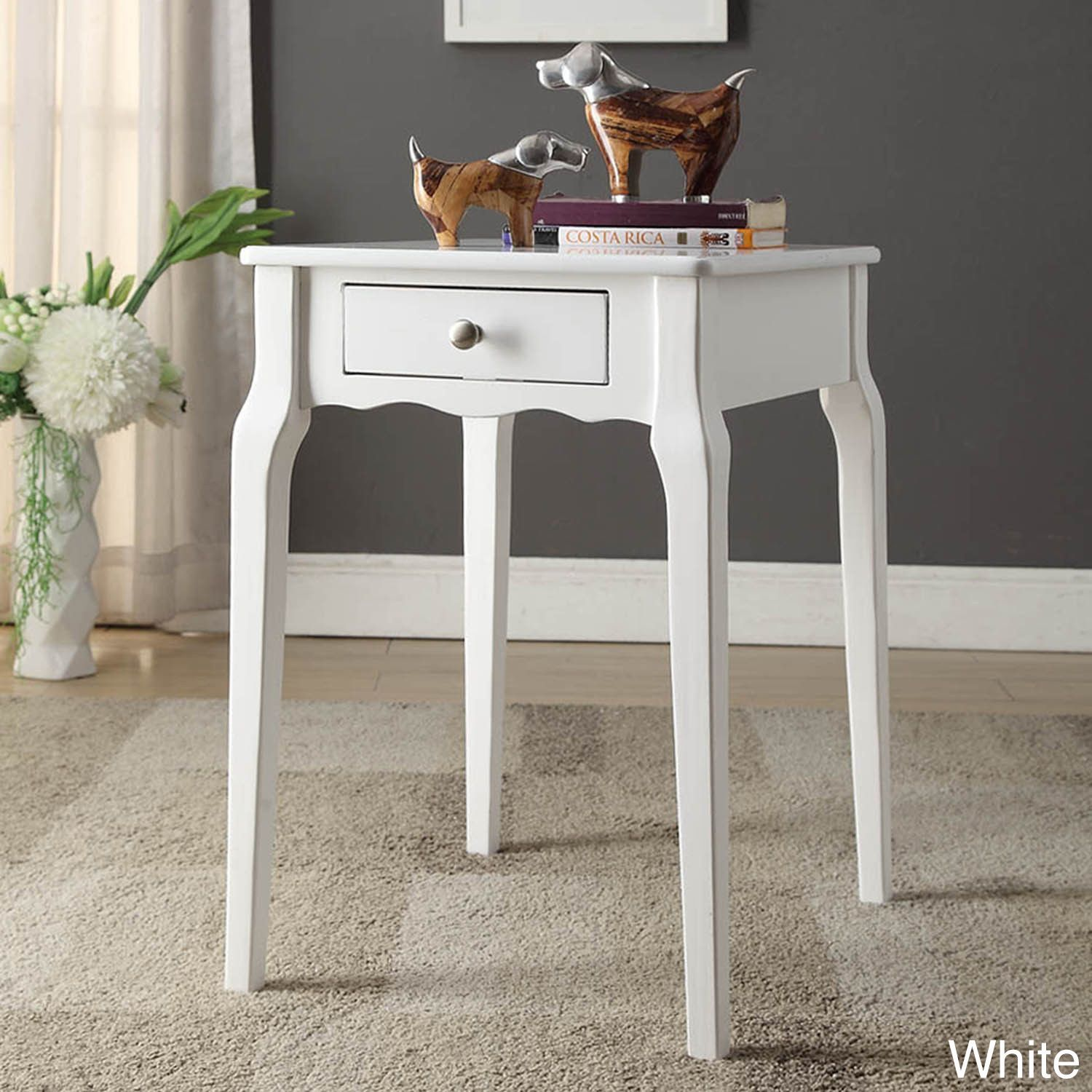 Daniella 1-drawer Wood Storage Accent Side Table by iNSPIRE Q Bold  (Twilight Blue)