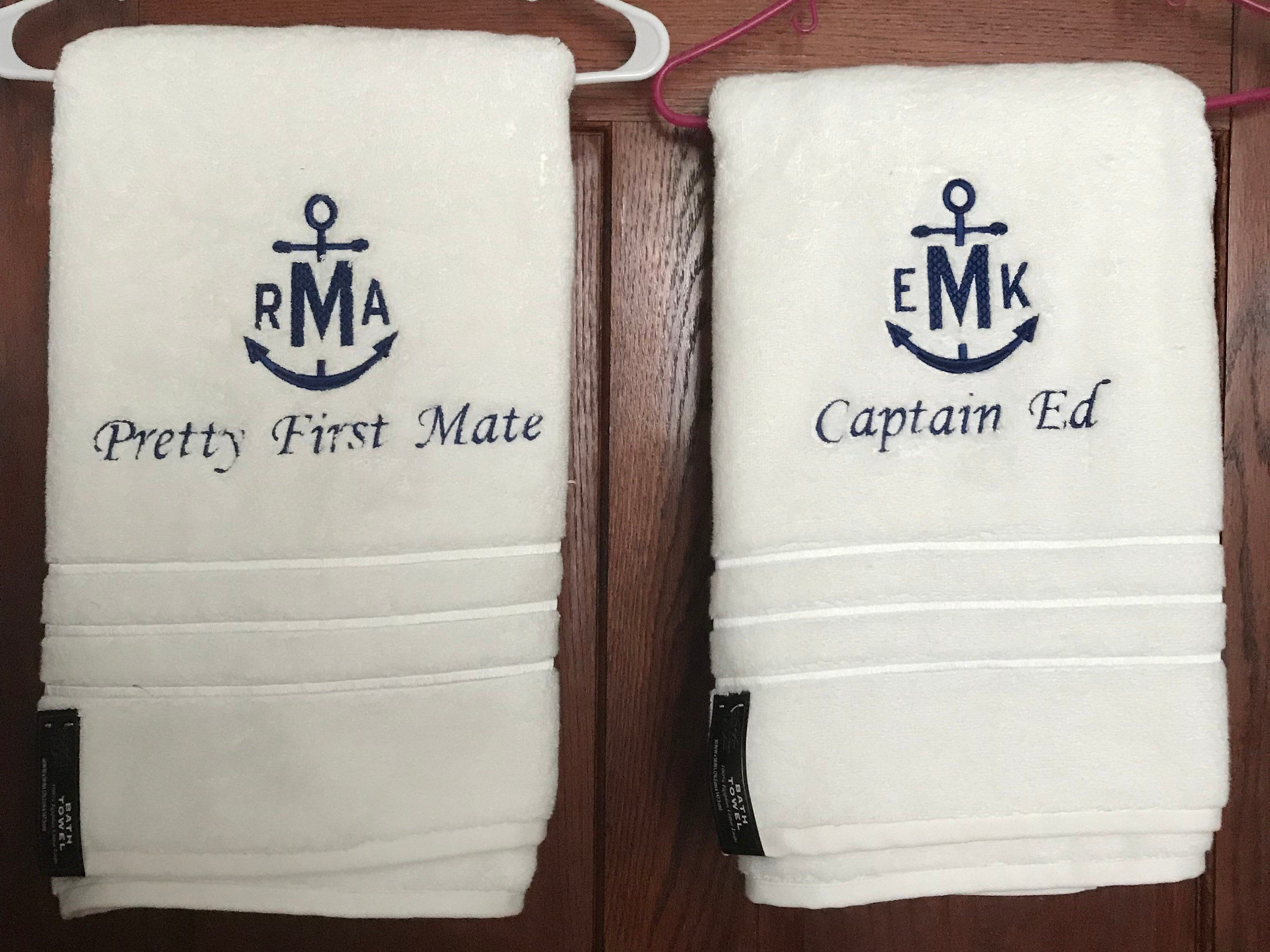 Nautical Towel Set Captain And First Mate Towel Set Personalized