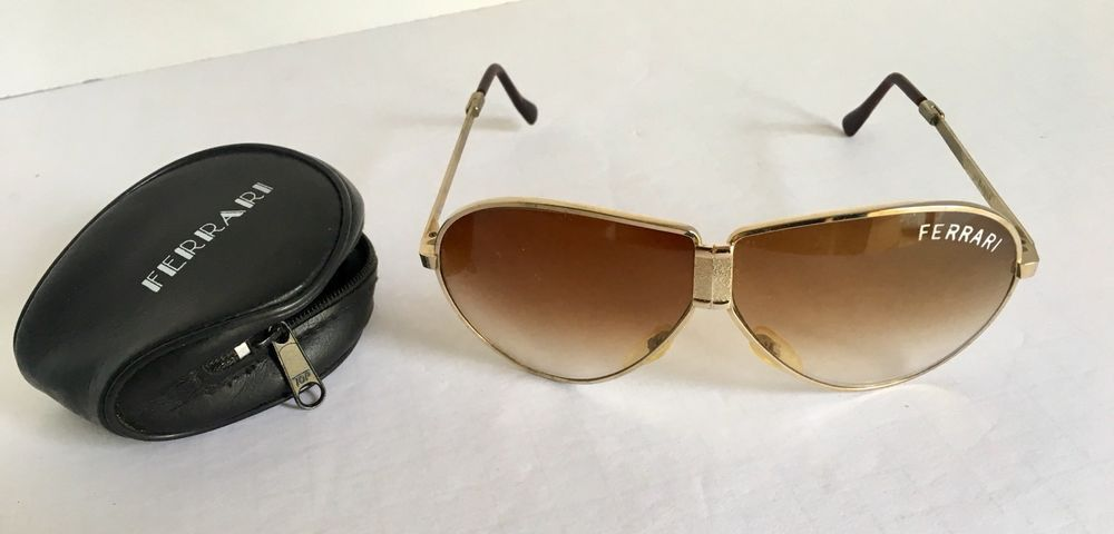 c3cac4c74e Vintage Ferrari Gold Metal Frame Folding Aviator Sunglasses W  Zip Case  Damaged  Ferrari  Vintage