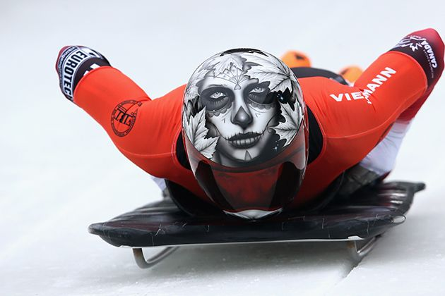 2014 Olympic skeleton team...probably the creepiest helmet I have ever seen.  #Team Canada