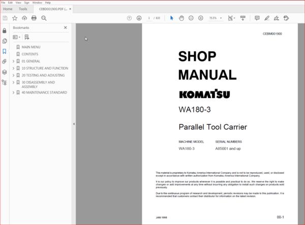 Komatsu Wa180 3 Parallel Tool Carrier Service Repair Manual Repair Manuals Komatsu Manual