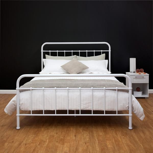 Best Nellie Metal Queen Bed White Main Product Photo Metal 400 x 300