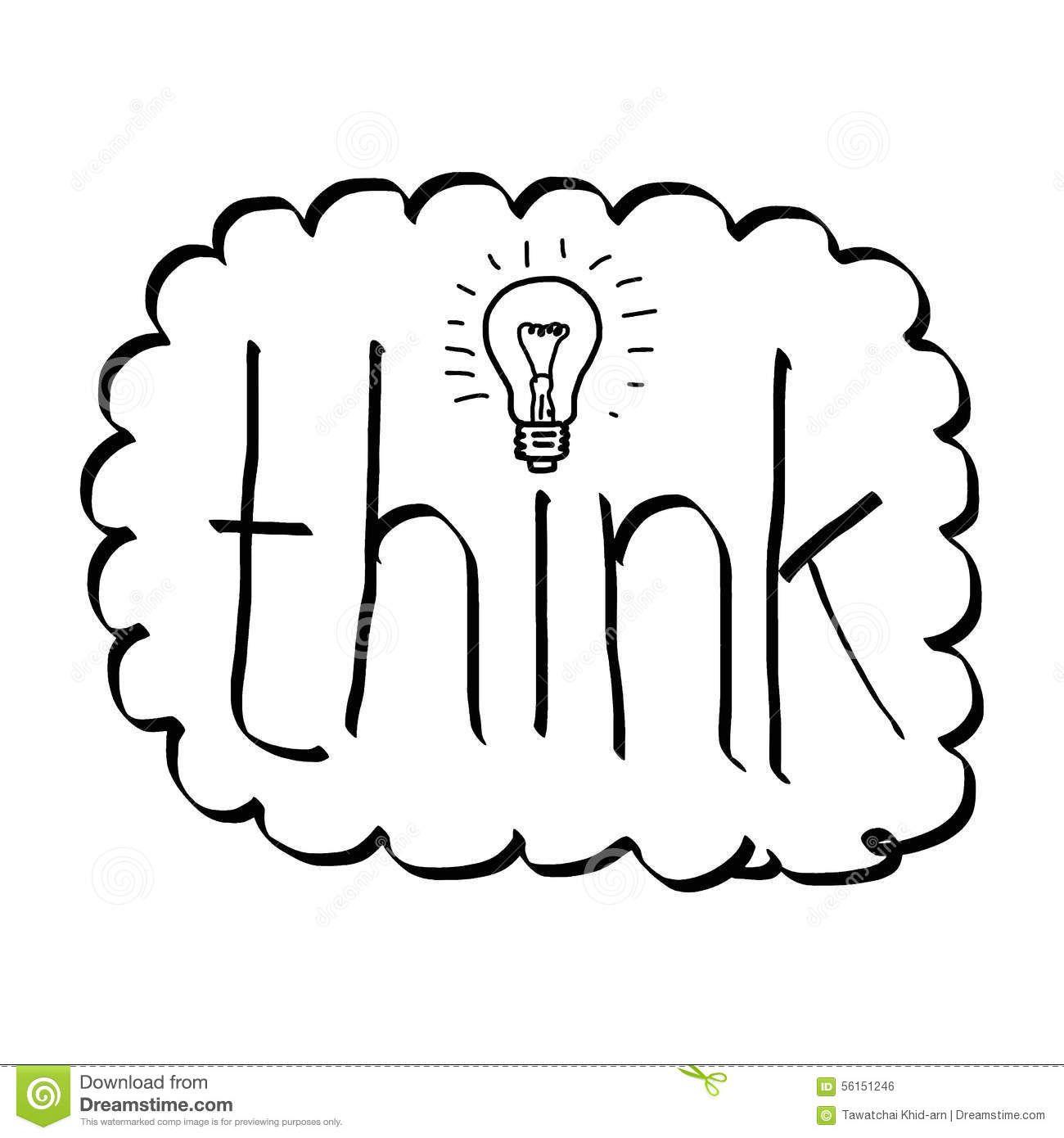 Doodles Word Think Bulb Illustration Vector Hand Drawn