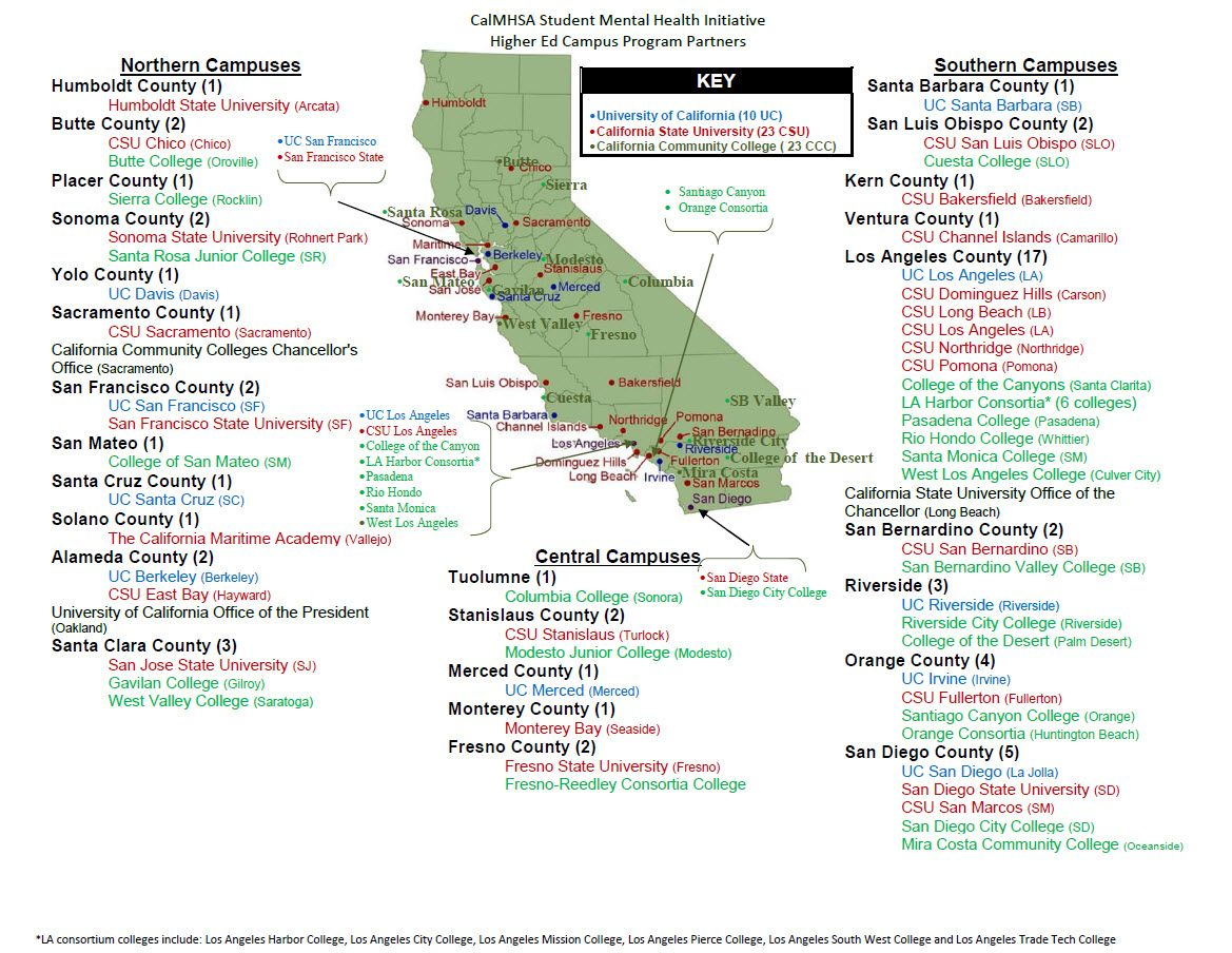Map Of All U C Schools In California Yahoo Image Search