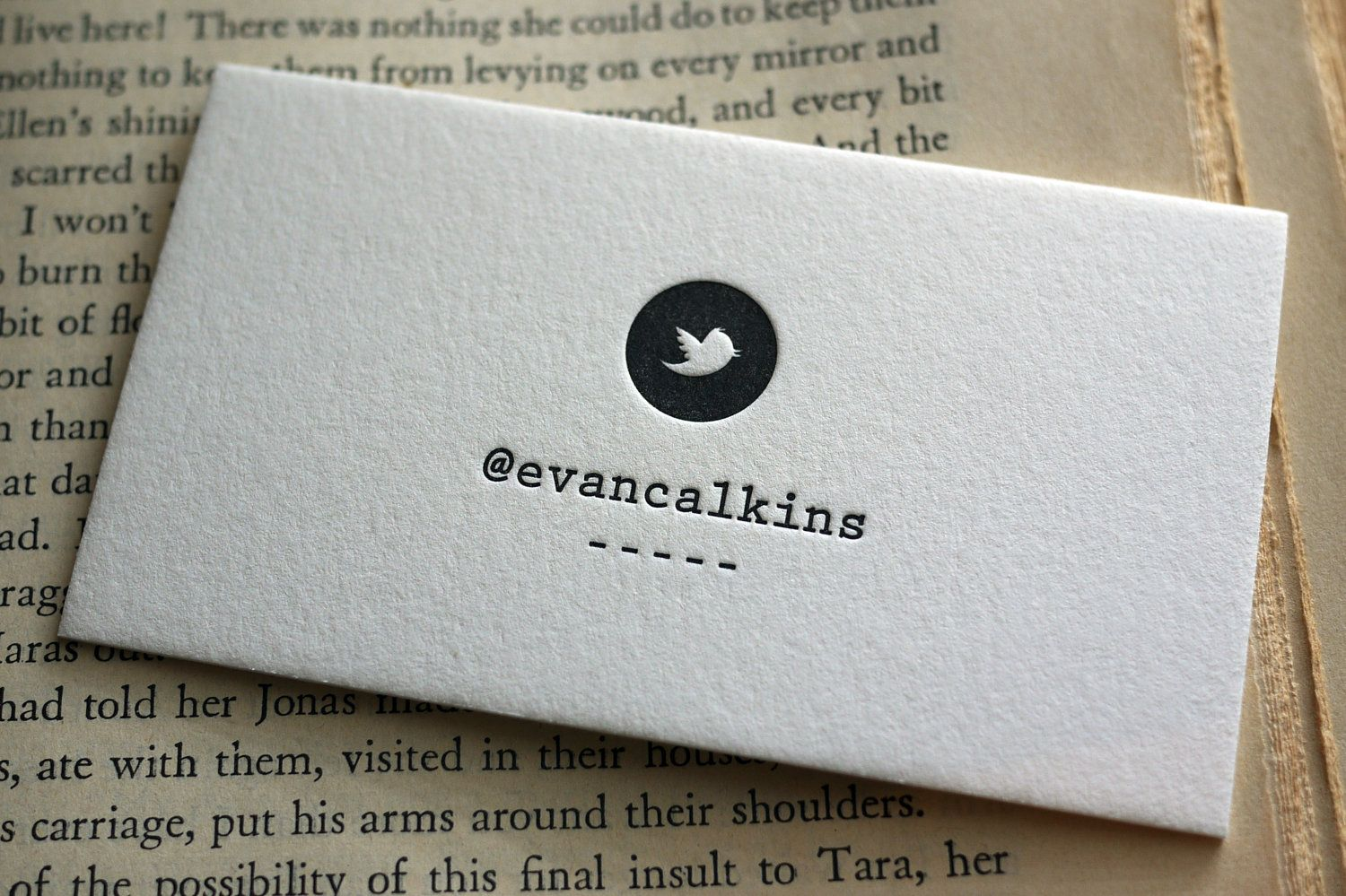 100 Custom Letterpress Calling Cards Twitter Card by HobanPress ...
