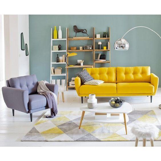 Salon Gemütlich, Bunte Möbel, Grau, Gelb, Baumhäuser, Retro Dekoration,  Bunte Häuser, Zukünftiges Haus, Teppiche