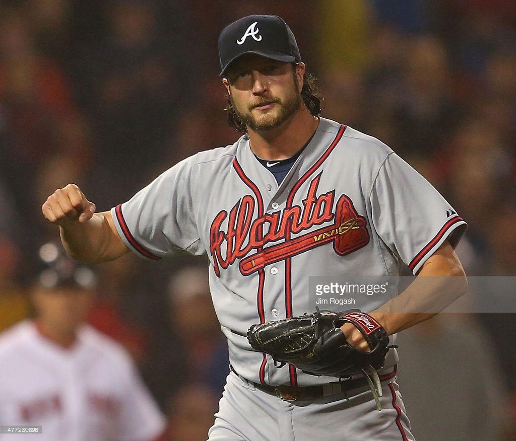Jason Grilli Of The Atlanta Braves Reacts After Defeating The Boston Atlanta Braves Braves Atlanta
