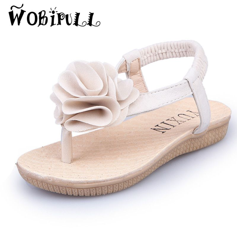4864b96ca9f188 WOBIPULL 2017 Summer girls slippers New Fashion children sweet Big flowers Sandals  kids Beach shoes girls flip-flop sandals  Affiliate