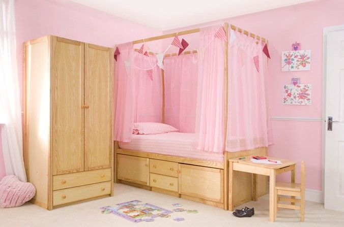Kids wooden four poster bed lovely kids four poster bed in - Childrens bedroom furniture with storage ...
