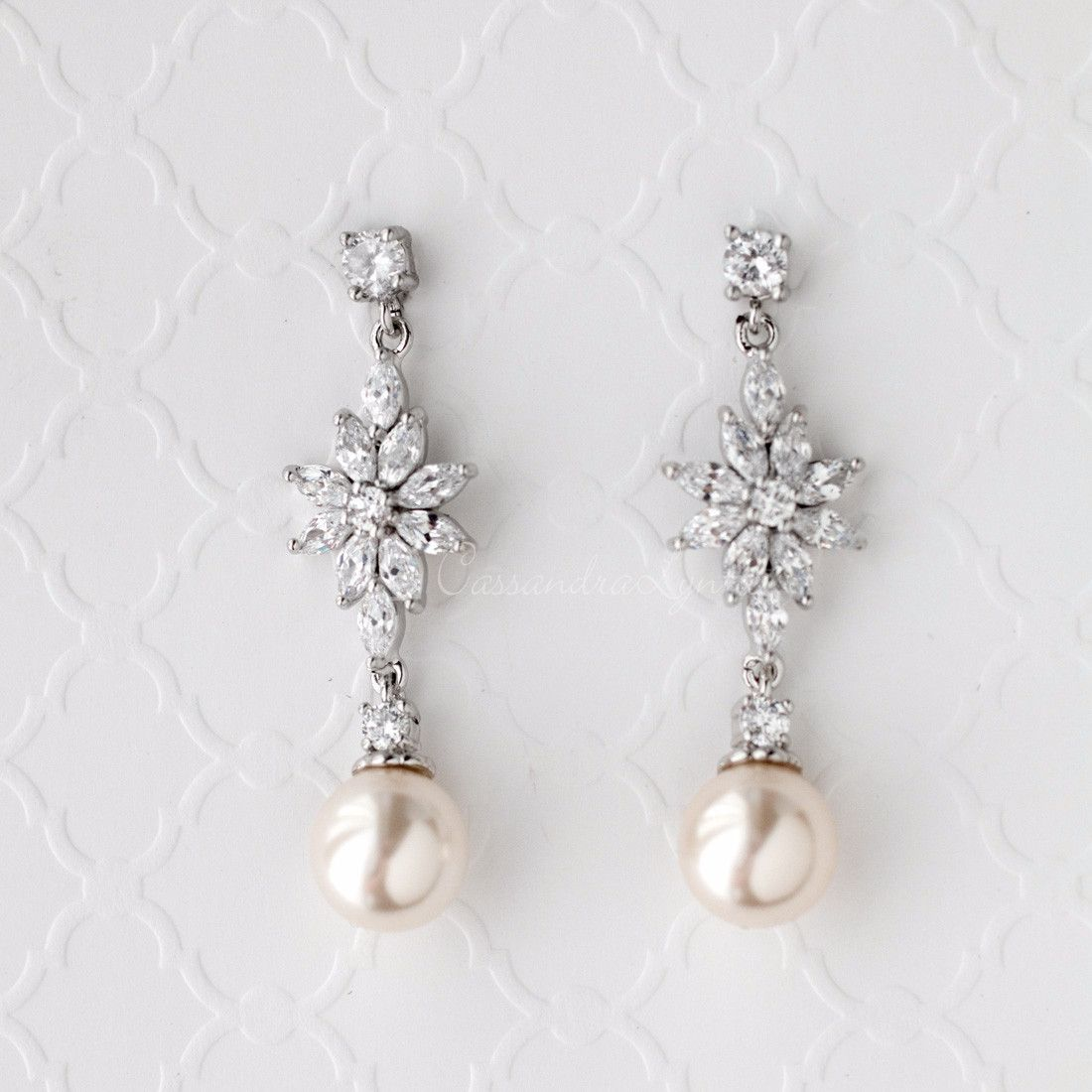 Champagne Pearl Wedding Earrings with CZ Jewels