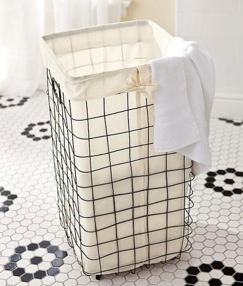 Domestic Science Wire Laundry Basket From Pottery Barn