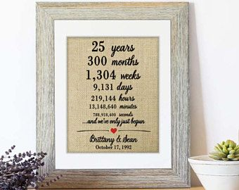 Personalized 25th Anniversary Gift For Pas Marriage Stats Story Wedding S