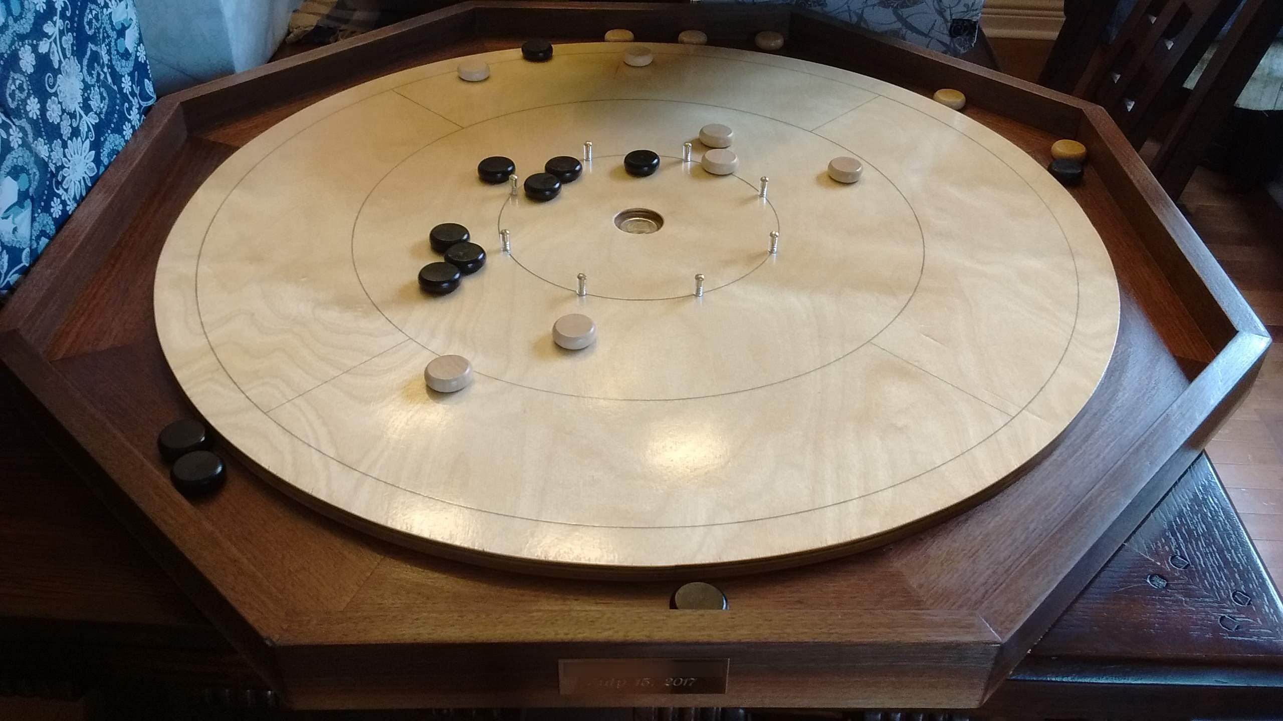 A traditional Canadian wedding gift the Crokinole board