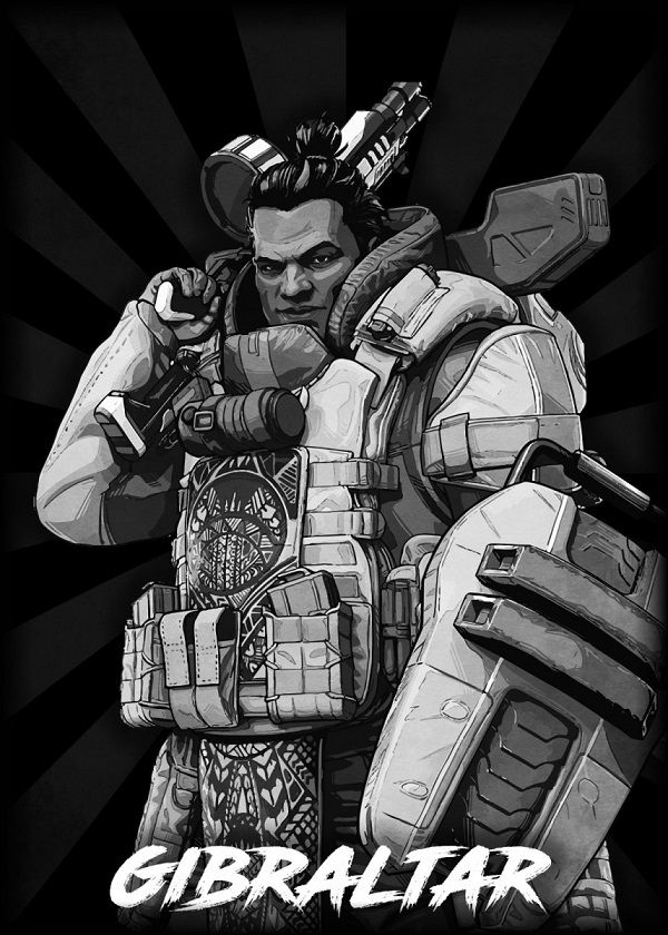 "Apex Legends B&W Radial Characters Gibraltar #Displate explore Pinterest""> #Displate artwork by artist ""Durro… 
