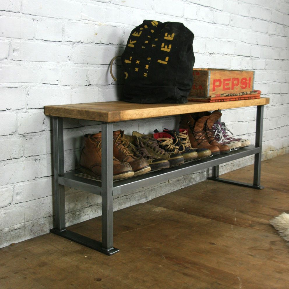 Industrial Rustic Hallway Shoe Storage Rack Bench Made To Order Home Stuff Pinterest