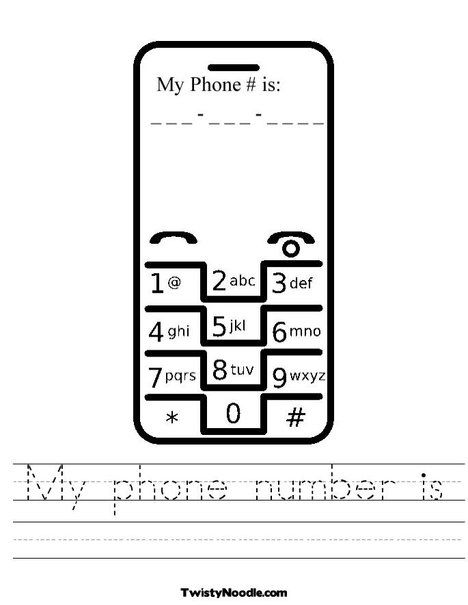 My phone number is..... worksheet.... much cooler insert for my ...
