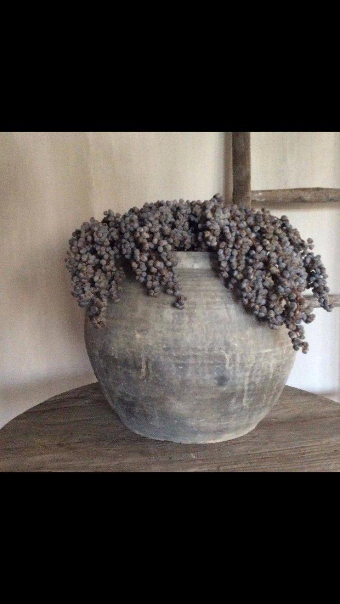 Mooie oude pot met dadeltak bron landelijk en sober for Woondecoratie vensterbank