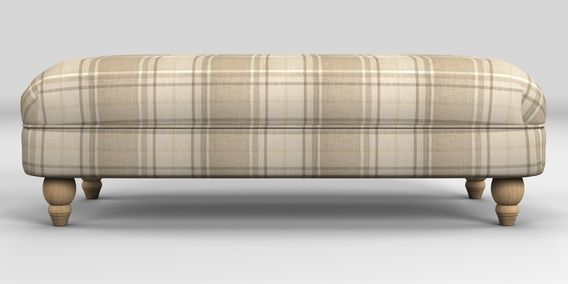 Buy Ashford Extra Large Footstool Soft Woven Check Natural Low