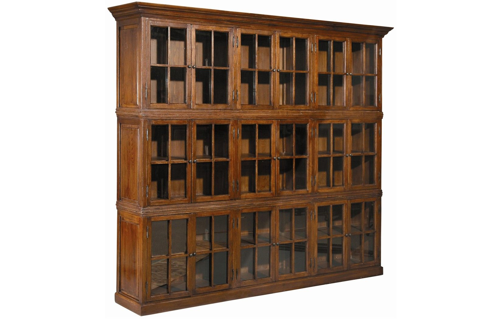 Triple Stack Manor Bookcase Nine Sets Of Mullion Framed Gl Doors Display Three Removable Shelves In