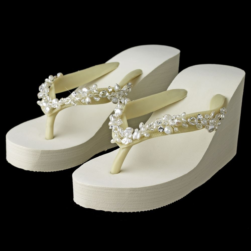 High Wedge Bridal Flip Flops with Crystal, Freshwater Pearl Accents - Affordable Elegance Bridal -