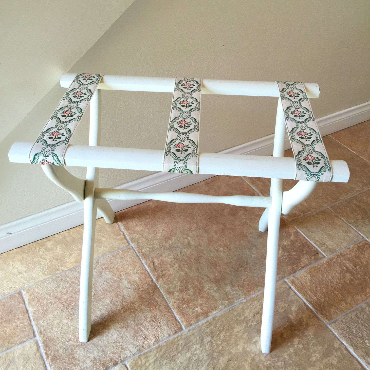 Folding Luggage Rack Suitcase Stand Vintage White Green Shabby Chic