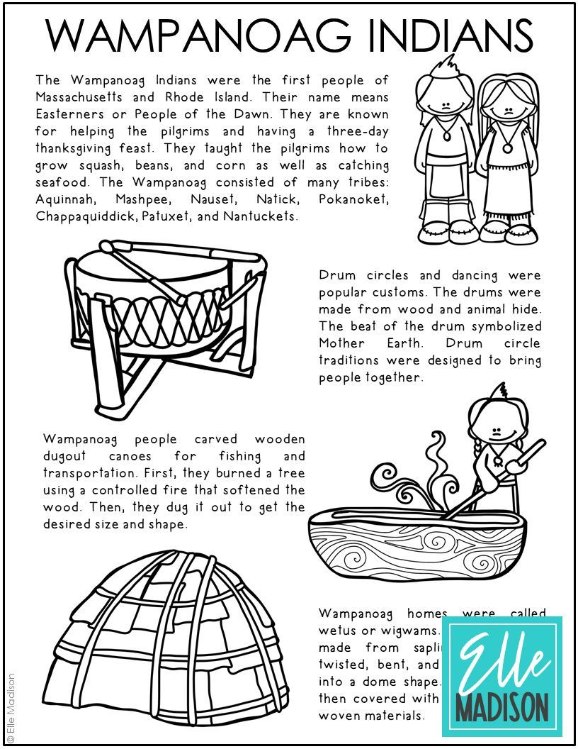 Wampanoag Indians Coloring Page Social Studies History Classroom Study Craft