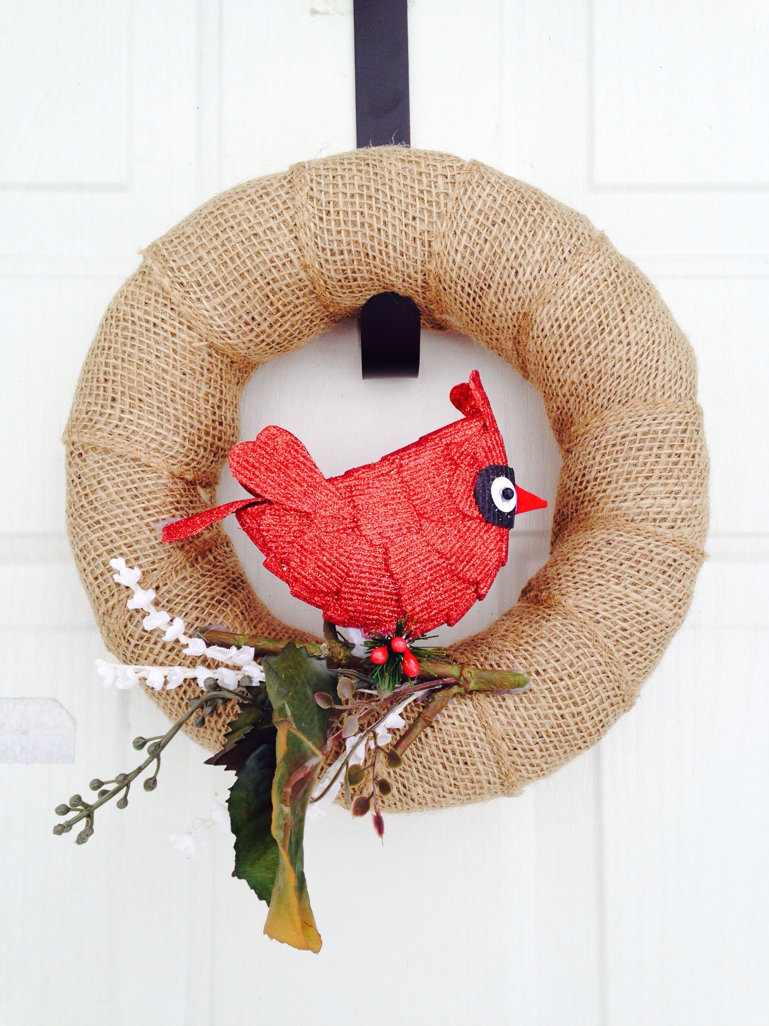 Cardinal burlap small wreath