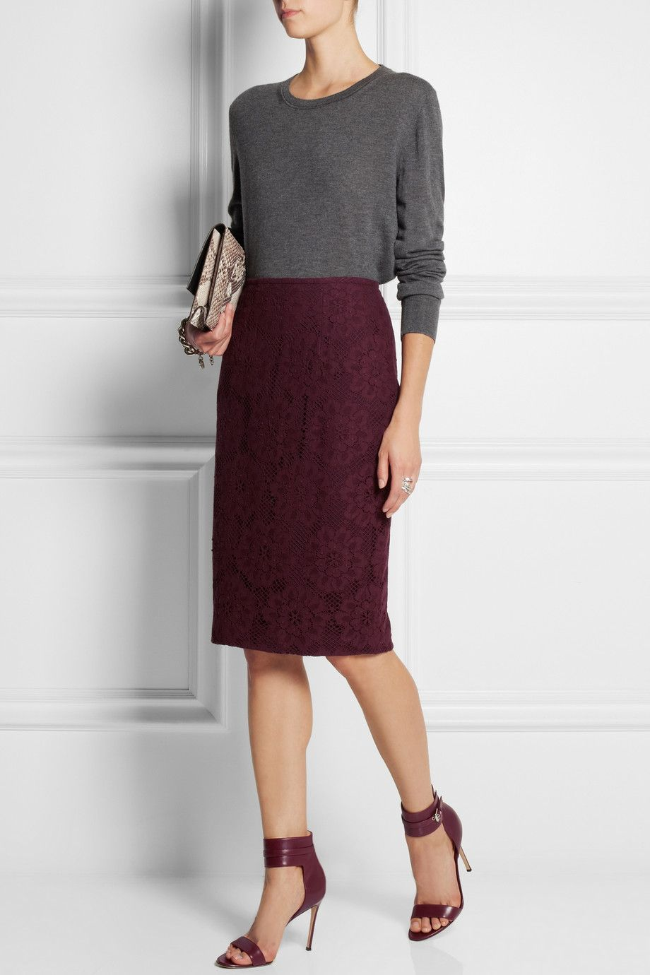 29e0c18c27e8c Burberry Burgundy Lace skirt| Grey sweater color combo | My Style ...