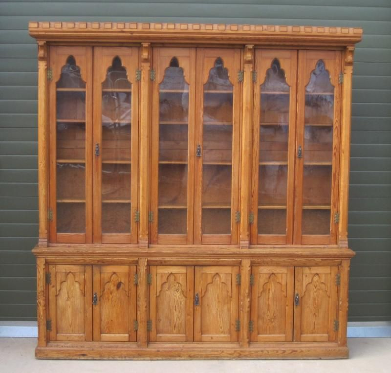 UKAA buy and sell Antique Victorian Pine Gothic Dresser bookcase online and  for sale in our shop. Antique furniture and reclaimed and salvaged pine are  sold ... - Antique Victorian Pitch Pine Bookcase,gothic,Antique Victorian